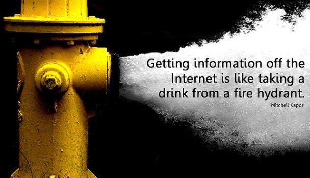 Consultar información de internet es como tratar de beber de una boca de incendios